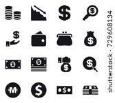 16 vector icon set   coin stack ... | Shutterstock .eps vector #729608134