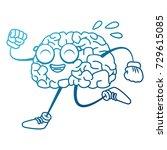 brain cartoon running | Shutterstock .eps vector #729615085