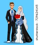 muslim wedding couple. black... | Shutterstock .eps vector #729624145