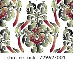 pattern with baroque damask... | Shutterstock .eps vector #729627001