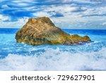 greece  lefkada  rocks on shore. | Shutterstock . vector #729627901