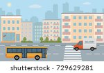city life illustration with... | Shutterstock .eps vector #729629281