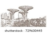 sketch of gardens by the bay... | Shutterstock .eps vector #729630445