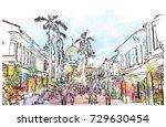 watercolor sketch of sultan... | Shutterstock .eps vector #729630454