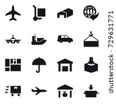 16 vector icon set   plane ... | Shutterstock .eps vector #729631771