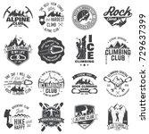 set of alpine climbing club... | Shutterstock .eps vector #729637399