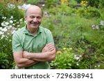 an elderly man with a mustache... | Shutterstock . vector #729638941