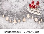 christmas greeting card. noel... | Shutterstock . vector #729640105