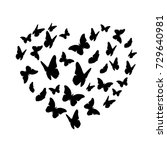 beautifil butterfly silhouette... | Shutterstock .eps vector #729640981