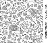 vector seamless pattern with... | Shutterstock .eps vector #729653755