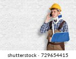 young male handyman with... | Shutterstock . vector #729654415