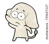 cartoon unsure elephant | Shutterstock .eps vector #729657127