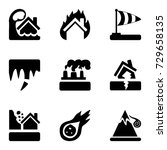 vector black icons set with... | Shutterstock .eps vector #729658135