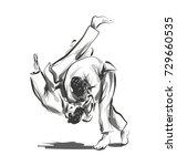 vector line sketch fighting judo | Shutterstock .eps vector #729660535