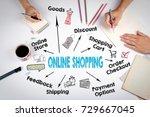 online shopping concept. chart... | Shutterstock . vector #729667045