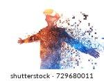 a person in virtual glasses... | Shutterstock . vector #729680011