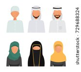 set of arab and muslim... | Shutterstock .eps vector #729688324