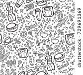 doodle diet seamless pattern.... | Shutterstock .eps vector #729691369