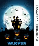 halloween background with... | Shutterstock . vector #729699097