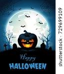halloween background with... | Shutterstock . vector #729699109