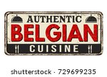 authentic belgian cuisine... | Shutterstock .eps vector #729699235
