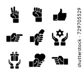 hand gestures icon set   Shutterstock .eps vector #729705529