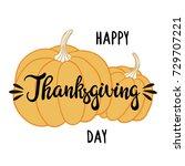 pumpkins and hand written... | Shutterstock .eps vector #729707221