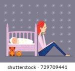 post partum depression | Shutterstock .eps vector #729709441