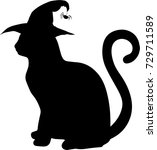 black silhouette of cat in... | Shutterstock .eps vector #729711589