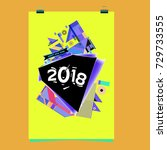 happy new year 2018 colorful... | Shutterstock .eps vector #729733555