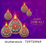 happy diwali festival card with ... | Shutterstock .eps vector #729733969