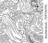 seamless mehndi vector pattern. ... | Shutterstock .eps vector #729734791