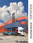 forklift truck lifting cargo... | Shutterstock . vector #729737215