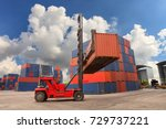 forklift truck lifting cargo...   Shutterstock . vector #729737221