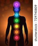 chakras location in human body... | Shutterstock .eps vector #729740809