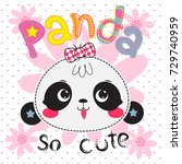 cartoon cute panda girl head on ... | Shutterstock .eps vector #729740959