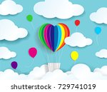 paper cut colorful natural ... | Shutterstock .eps vector #729741019