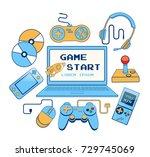 printable flat vector... | Shutterstock .eps vector #729745069