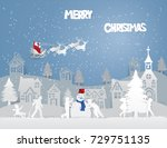 merry christmas of santa claus... | Shutterstock .eps vector #729751135
