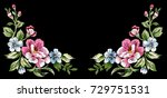 flower embroidery  floral... | Shutterstock .eps vector #729751531