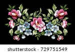 flower embroidery  floral... | Shutterstock .eps vector #729751549