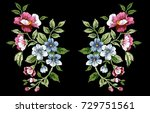 flower embroidery  floral... | Shutterstock .eps vector #729751561