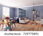 modern apartment. scandinavian... | Shutterstock . vector #729775891