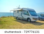 caravan sea holidays summer | Shutterstock . vector #729776131