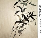 Chinese Ink Painting Of Bamboo...