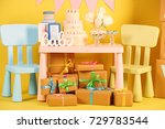 composition with desserts and... | Shutterstock . vector #729783544