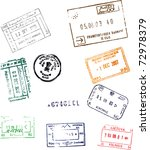 colorful passport stamps... | Shutterstock . vector #72978379