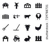 16 vector icon set   barn ... | Shutterstock .eps vector #729788731