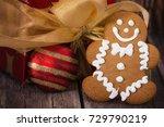 gingerbread men cookie against... | Shutterstock . vector #729790219