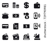 16 vector icon set   card  coin ... | Shutterstock .eps vector #729790981